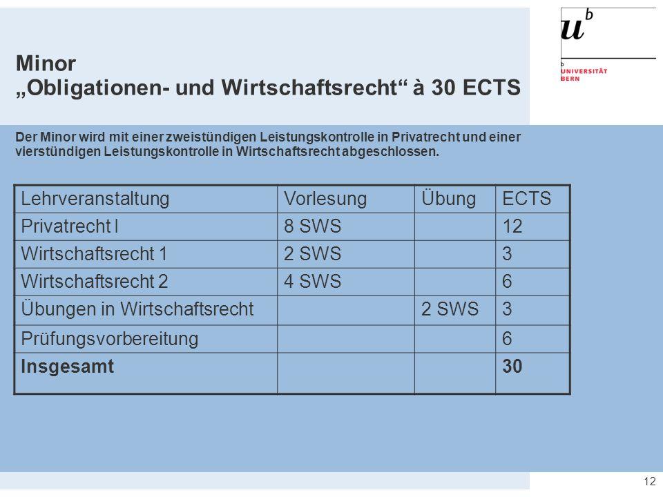 """12 Minor """"Obligationen- und Wirtschaftsrecht"""" à 30 ECTS Der Minor wird mit einer zweistündigen Leistungskontrolle in Privatrecht und einer vierstündig"""