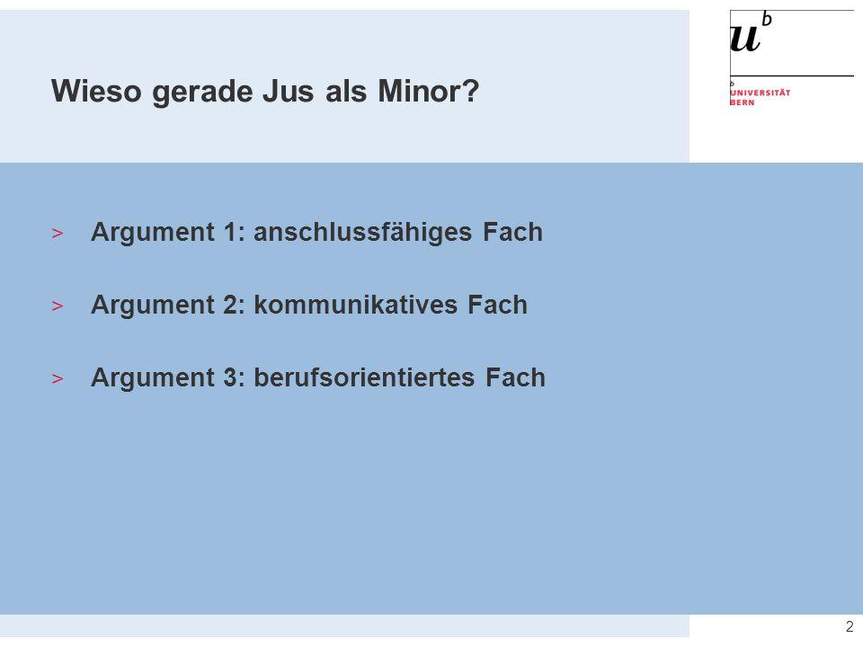 Wieso gerade Jus als Minor? 2  Argument 1: anschlussfähiges Fach  Argument 2: kommunikatives Fach  Argument 3: berufsorientiertes Fach