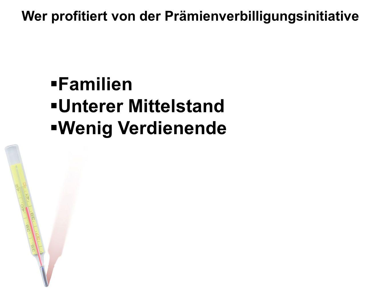 Wer profitiert von der Prämienverbilligungsinitiative  Familien  Unterer Mittelstand  Wenig Verdienende