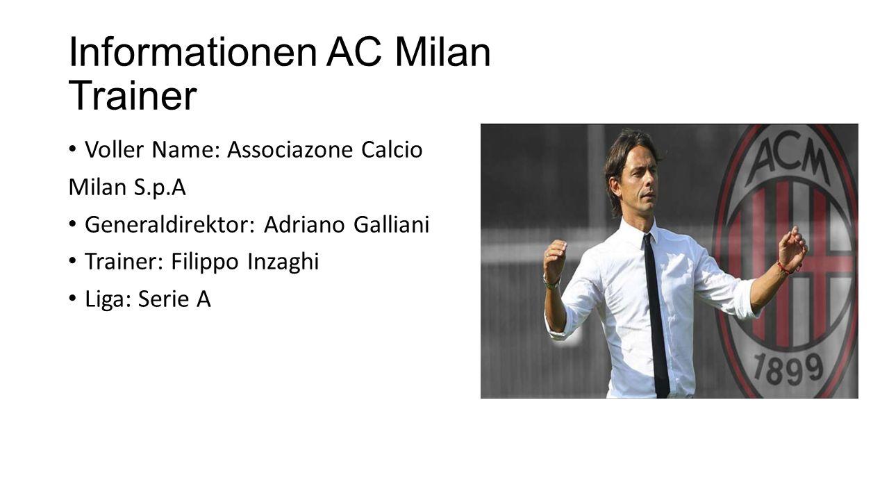 Informationen AC Milan Trainer Voller Name: Associazone Calcio Milan S.p.A Generaldirektor: Adriano Galliani Trainer: Filippo Inzaghi Liga: Serie A