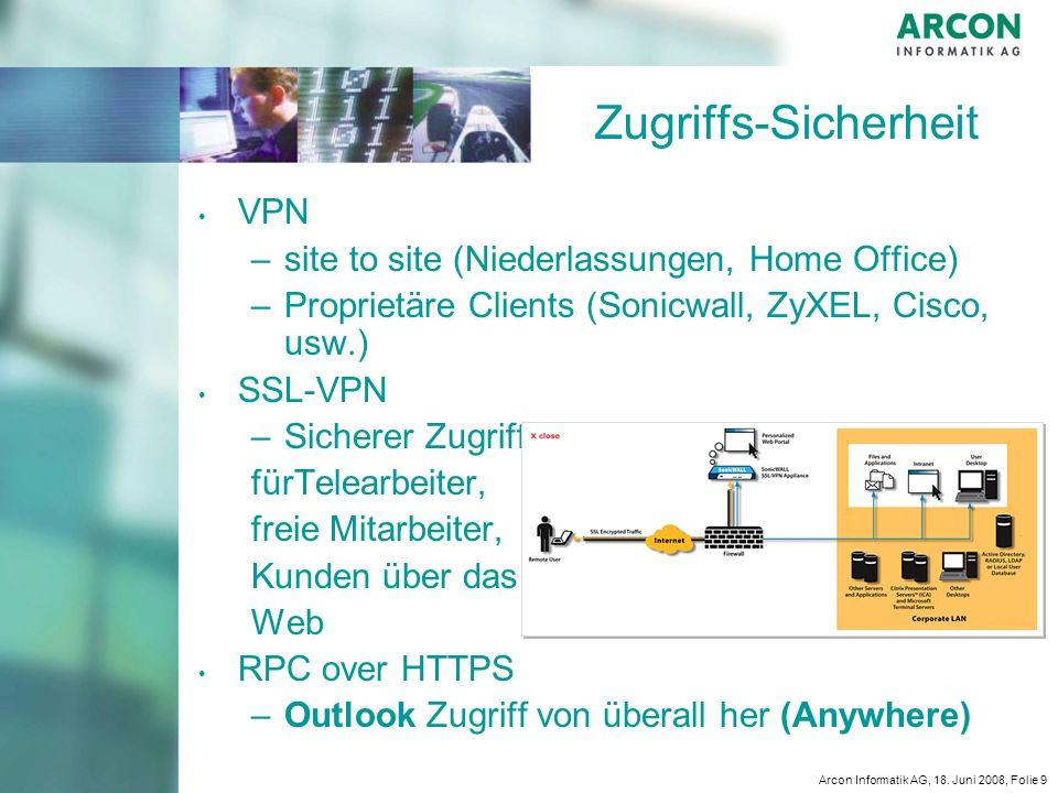 Arcon Informatik AG, 18. Juni 2008, Folie 9 Zugriffs-Sicherheit VPN – –site to site (Niederlassungen, Home Office) – –Proprietäre Clients (Sonicwall,