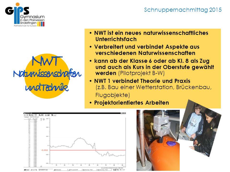 Schnuppernachmittag 2015 NWT ist ein neues naturwissenschaftliches Unterrichtsfach Verbreitert und verbindet Aspekte aus verschiedenen Naturwissenschaften kann ab der Klasse 6 oder ab Kl.
