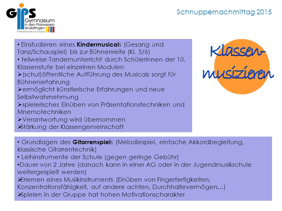 Schnuppernachmittag 2015 Einstudieren eines Kindermusical s (Gesang und Tanz/Schauspiel) bis zur Bühnenreife (Kl.