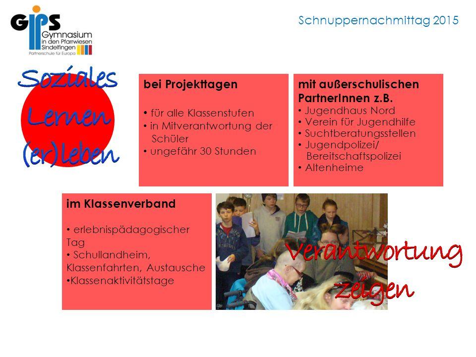 Schnuppernachmittag 2015 im Klassenverband erlebnispädagogischer Tag Schullandheim, Klassenfahrten, Austausche Klassenaktivitätstage bei Projekttagen