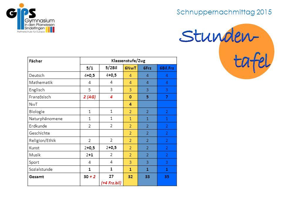 Schnuppernachmittag 2015 Fächer Klassenstufe/Zug 5/1 5/2Bil 6NwT6Frz6Bil.Frz Deutsch4+0,5 444 Mathematik4 4 444 Englisch5 3 333 Französisch2 (AG) 4 05