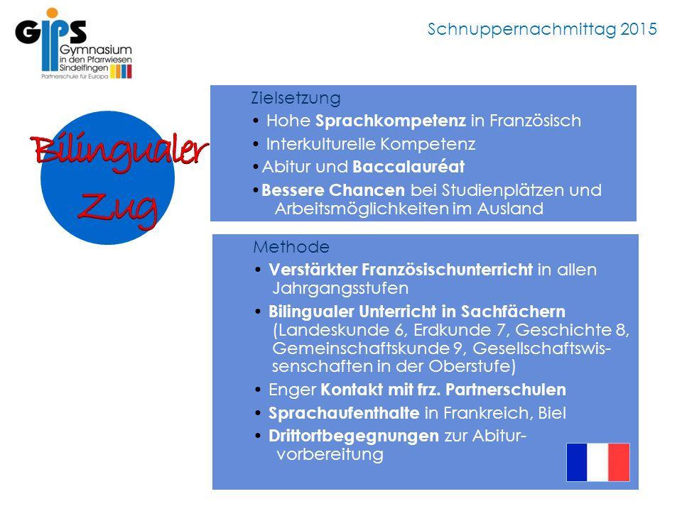 Schnuppernachmittag 2015 Zielsetzung Hohe Sprachkompetenz in Französisch Interkulturelle Kompetenz Abitur und Baccalauréat Bessere Chancen bei Studien
