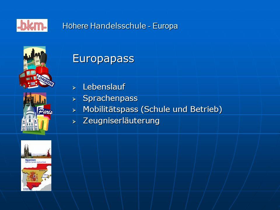 Europapass  Lebenslauf  Sprachenpass  Mobilitätspass (Schule und Betrieb)  Zeugniserläuterung