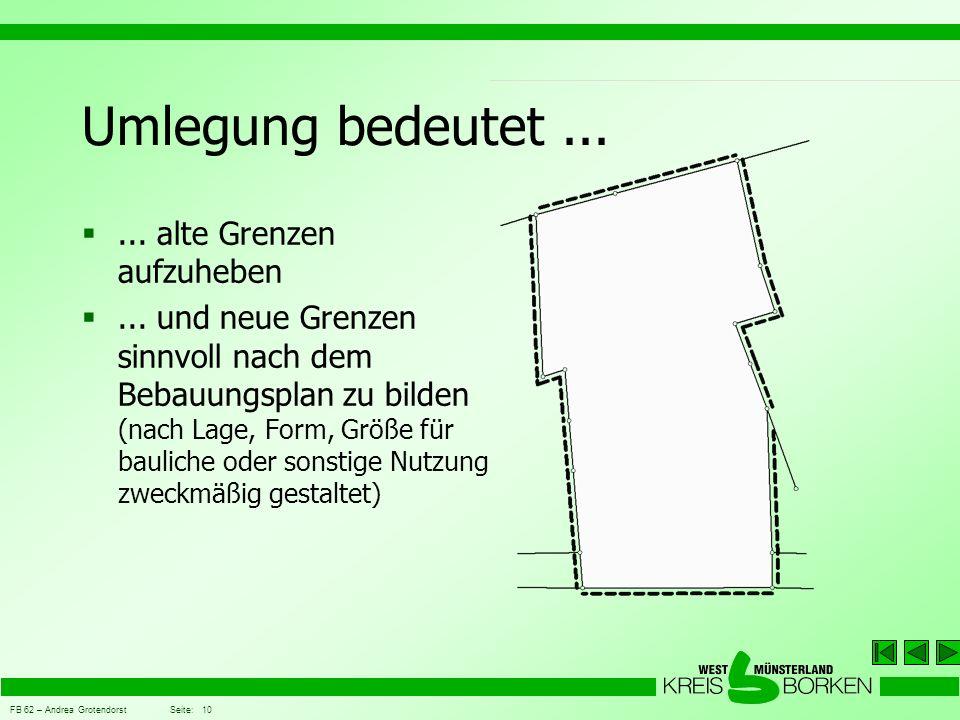 FB 62 – Andrea Grotendorst Seite: 10 Umlegung bedeutet... ... alte Grenzen aufzuheben ... und neue Grenzen sinnvoll nach dem Bebauungsplan zu bilden