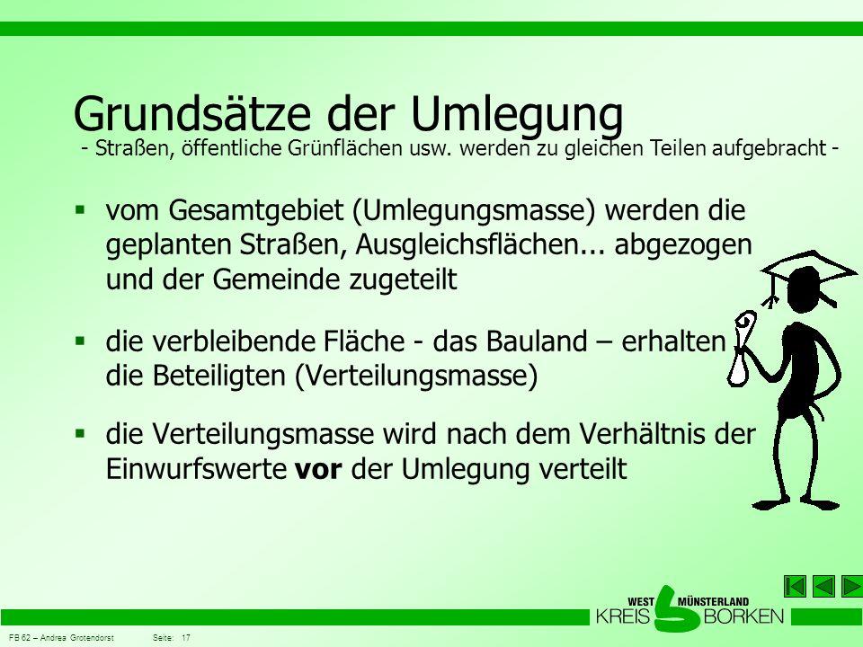 FB 62 – Andrea Grotendorst Seite: 17 Grundsätze der Umlegung  vom Gesamtgebiet (Umlegungsmasse) werden die geplanten Straßen, Ausgleichsflächen... ab