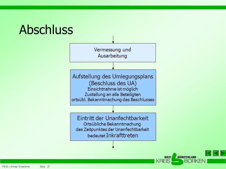 FB 62 – Andrea Grotendorst Seite: 27 Abschluss Vermessung und Ausarbeitung Aufstellung des Umlegungsplans (Beschluss des UA) Einsichtnahme ist möglich