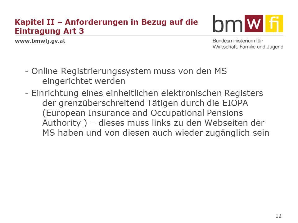 www.bmwfj.gv.at Kapitel II – Anforderungen in Bezug auf die Eintragung Art 3 - Online Registrierungssystem muss von den MS eingerichtet werden - Einrichtung eines einheitlichen elektronischen Registers der grenzüberschreitend Tätigen durch die EIOPA (European Insurance and Occupational Pensions Authority ) – dieses muss links zu den Webseiten der MS haben und von diesen auch wieder zugänglich sein 12