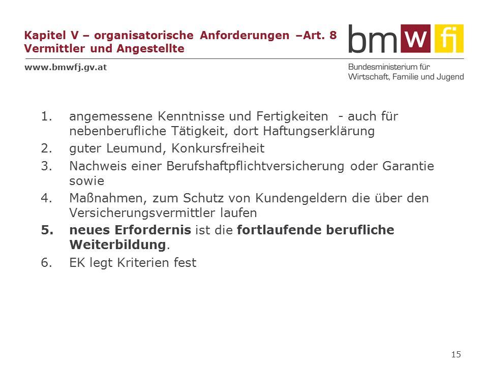 www.bmwfj.gv.at Kapitel V – organisatorische Anforderungen –Art.