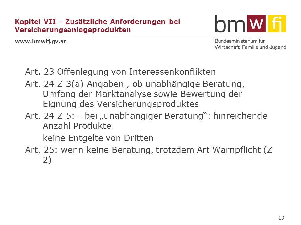 www.bmwfj.gv.at Kapitel VII – Zusätzliche Anforderungen bei Versicherungsanlageprodukten Art.