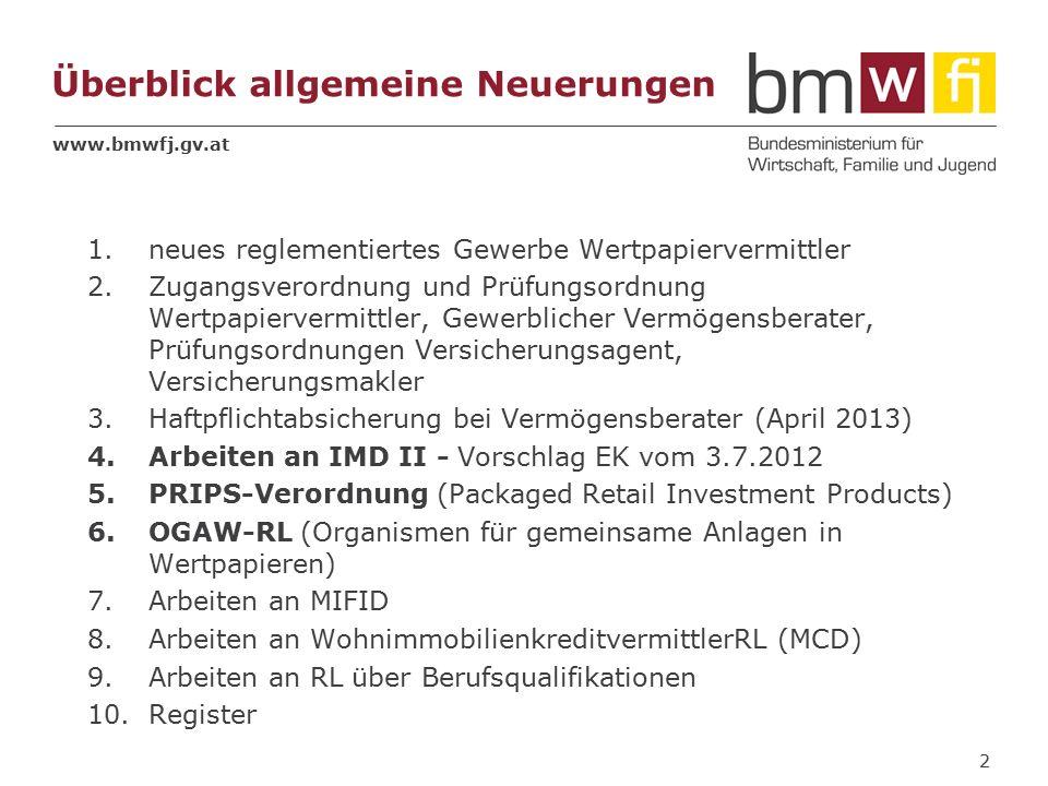 www.bmwfj.gv.at Überblick allgemeine Neuerungen 1.neues reglementiertes Gewerbe Wertpapiervermittler 2.Zugangsverordnung und Prüfungsordnung Wertpapiervermittler, Gewerblicher Vermögensberater, Prüfungsordnungen Versicherungsagent, Versicherungsmakler 3.Haftpflichtabsicherung bei Vermögensberater (April 2013) 4.Arbeiten an IMD II - Vorschlag EK vom 3.7.2012 5.PRIPS-Verordnung (Packaged Retail Investment Products) 6.OGAW-RL (Organismen für gemeinsame Anlagen in Wertpapieren) 7.Arbeiten an MIFID 8.Arbeiten an WohnimmobilienkreditvermittlerRL (MCD) 9.Arbeiten an RL über Berufsqualifikationen 10.Register 2