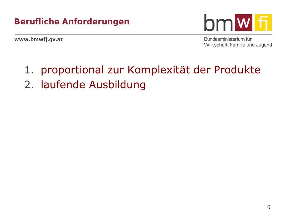 www.bmwfj.gv.at Berufliche Anforderungen 1.proportional zur Komplexität der Produkte 2.laufende Ausbildung 6