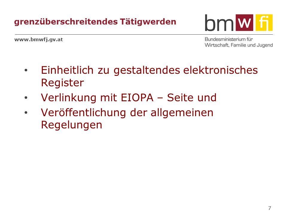 www.bmwfj.gv.at grenzüberschreitendes Tätigwerden Einheitlich zu gestaltendes elektronisches Register Verlinkung mit EIOPA – Seite und Veröffentlichung der allgemeinen Regelungen 7