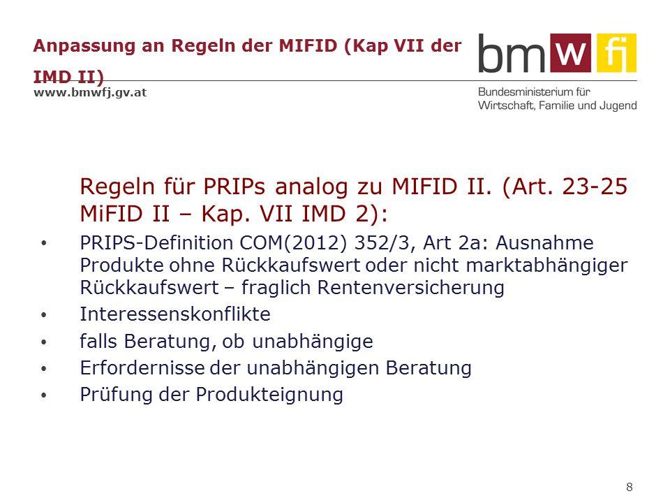 www.bmwfj.gv.at Anpassung an Regeln der MIFID (Kap VII der IMD II) Regeln für PRIPs analog zu MIFID II.