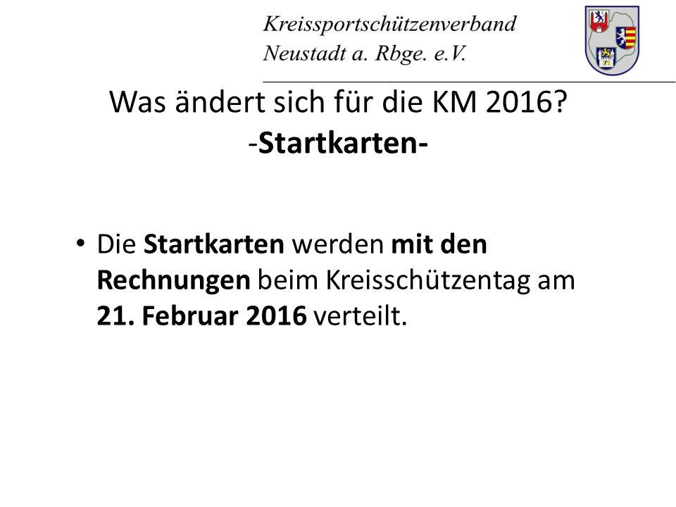 Was ändert sich für die KM 2016.