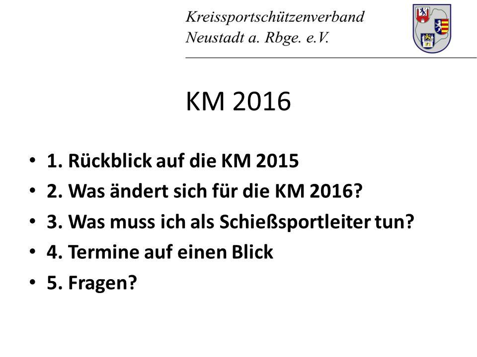 1. Rückblick auf die KM 2015 2. Was ändert sich für die KM 2016.