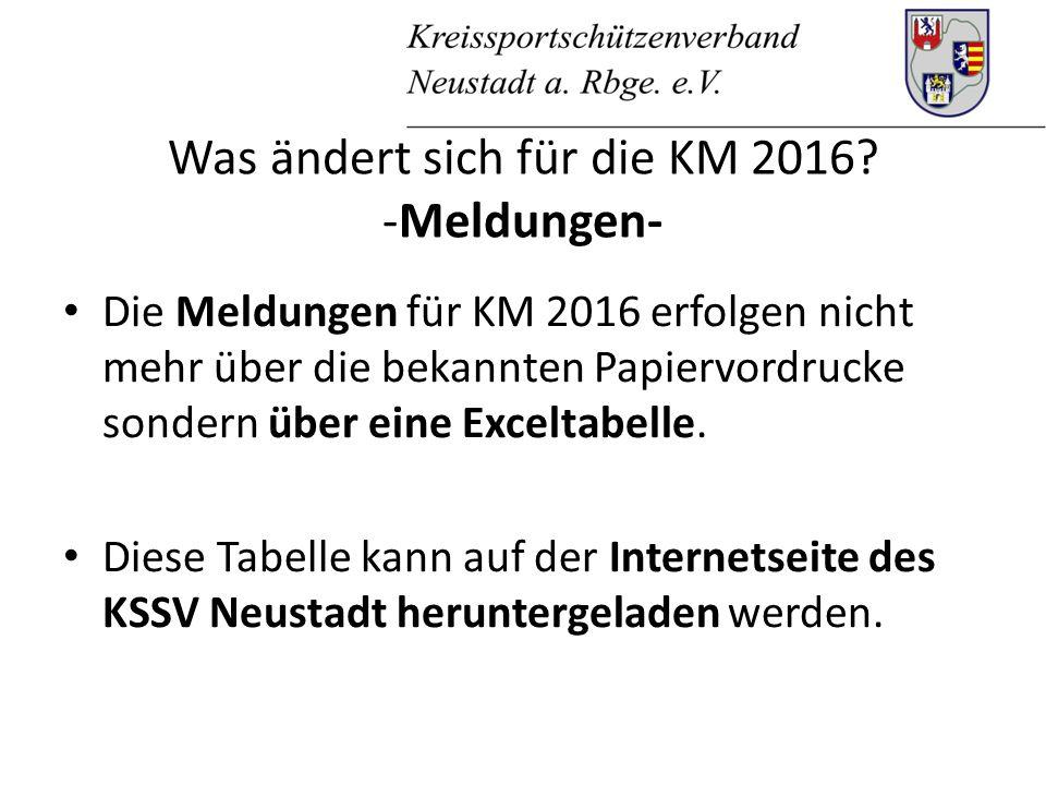 Was ändert sich für die KM 2016.-Meldungen- In die Tabelle werden u.a.