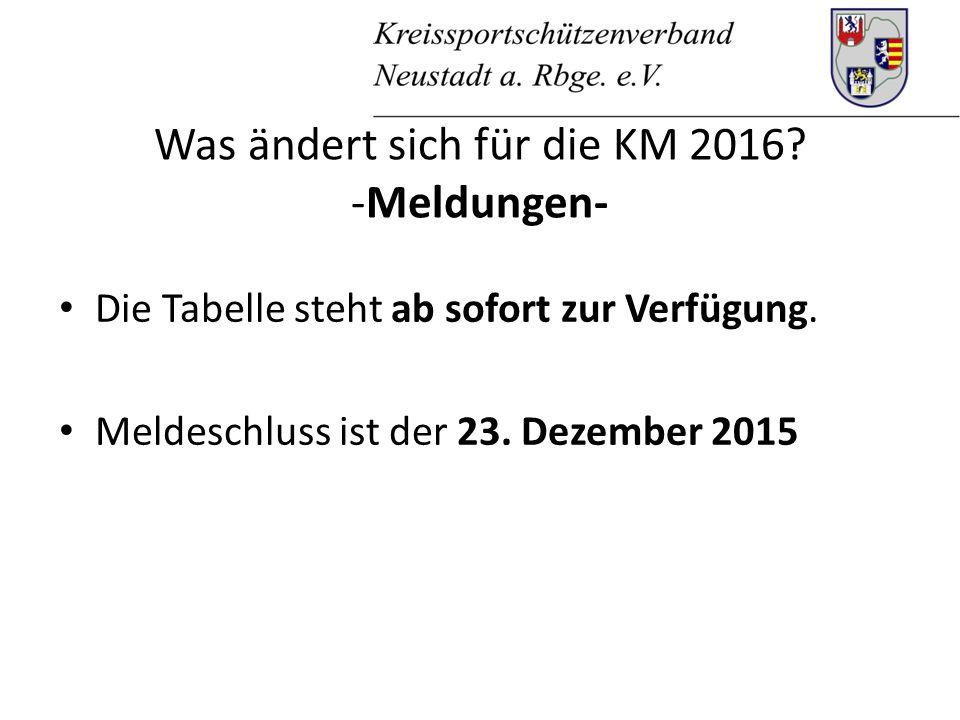 Was ändert sich für die KM 2016. -Meldungen- Die Tabelle steht ab sofort zur Verfügung.