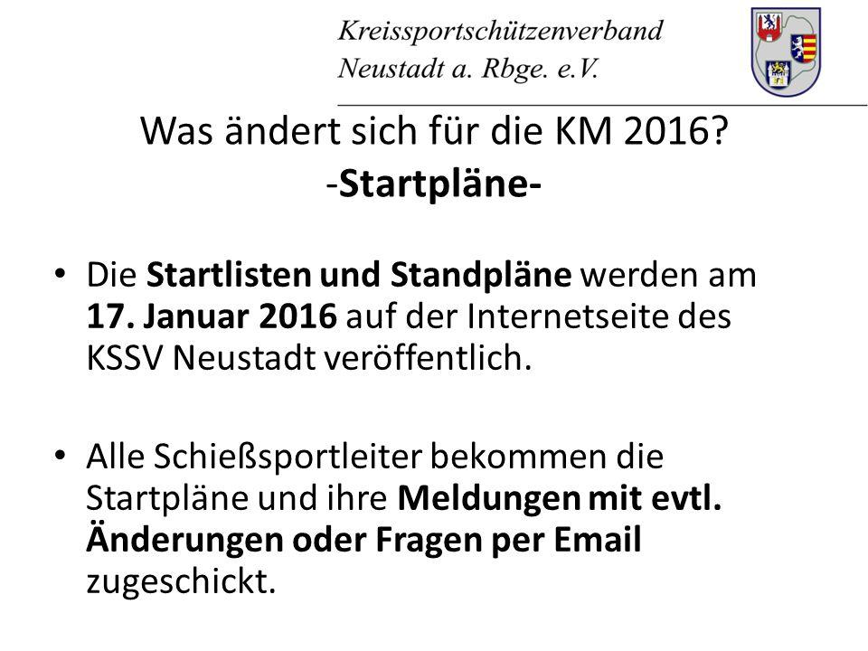 Was ändert sich für die KM 2016. -Startpläne- Die Startlisten und Standpläne werden am 17.