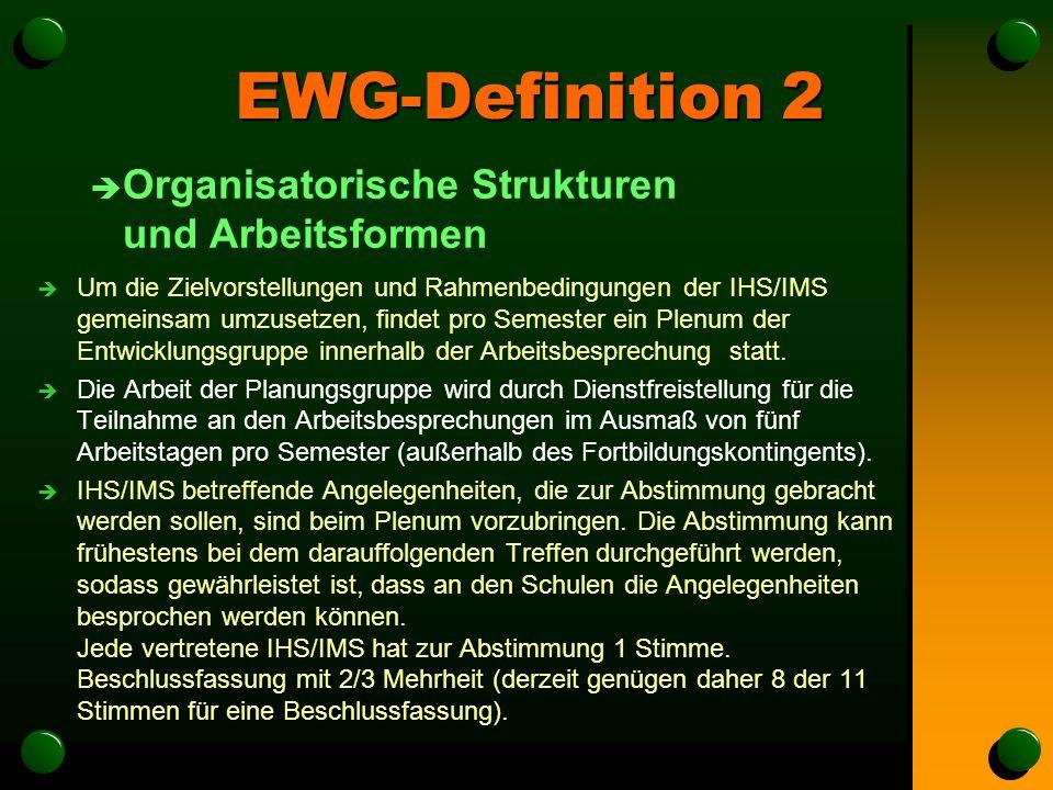 EWG-Definition 2 è Organisatorische Strukturen und Arbeitsformen è Um die Zielvorstellungen und Rahmenbedingungen der IHS/IMS gemeinsam umzusetzen, findet pro Semester ein Plenum der Entwicklungsgruppe innerhalb der Arbeitsbesprechung statt.