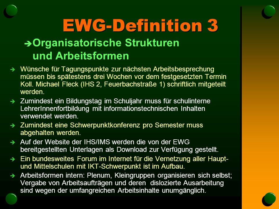 EWG-Definition 3 è Organisatorische Strukturen und Arbeitsformen è Wünsche für Tagungspunkte zur nächsten Arbeitsbesprechung müssen bis spätestens drei Wochen vor dem festgesetzten Termin Koll.