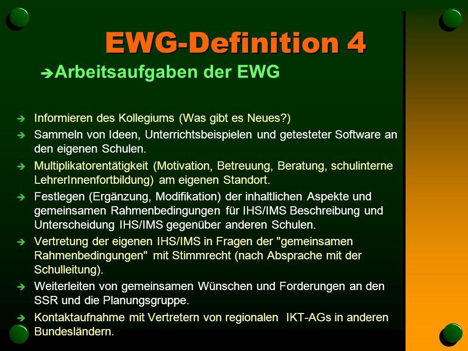 EWG-Definition 4 è Arbeitsaufgaben der EWG è Informieren des Kollegiums (Was gibt es Neues ) è Sammeln von Ideen, Unterrichtsbeispielen und getesteter Software an den eigenen Schulen.