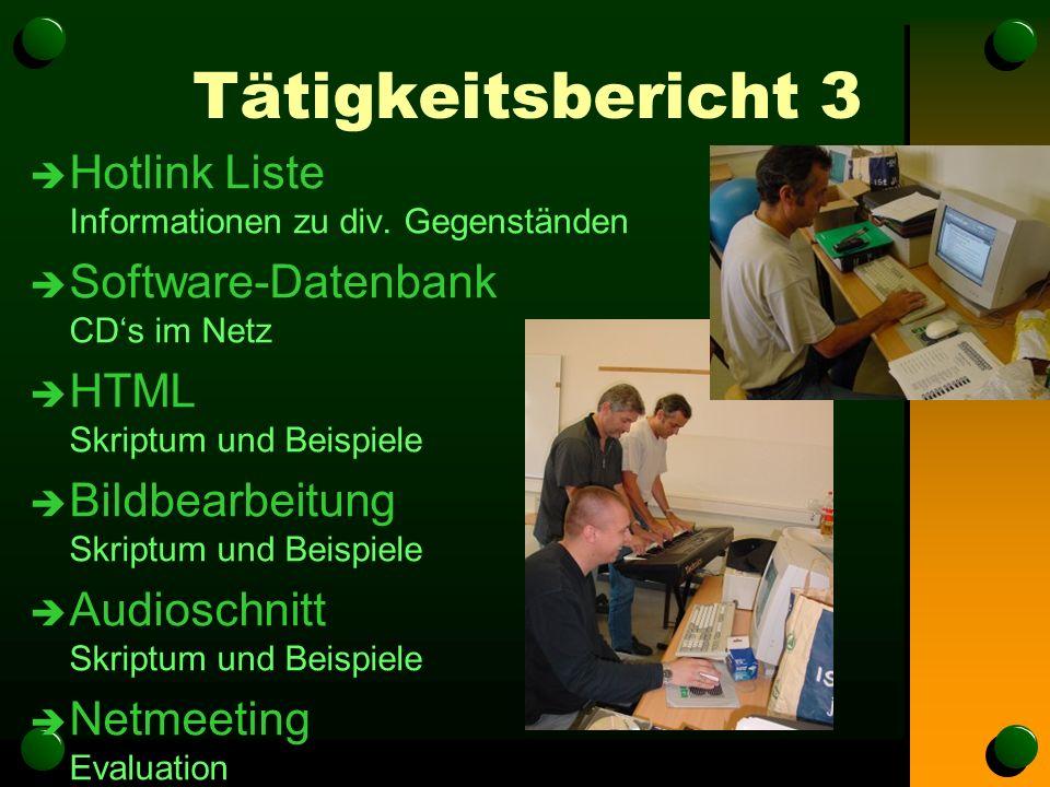 Tätigkeitsbericht 3 è Hotlink Liste Informationen zu div.