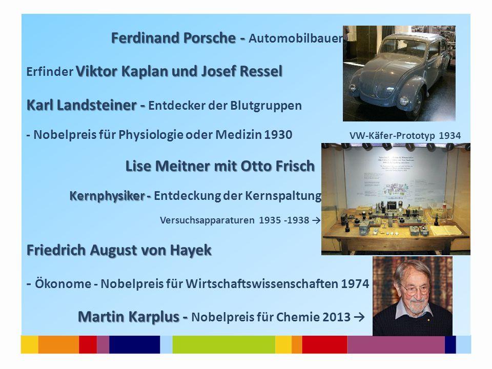 Ferdinand Porsche - Ferdinand Porsche - Automobilbauer Viktor Kaplan und Josef Ressel Erfinder Viktor Kaplan und Josef Ressel Karl Landsteiner - Karl