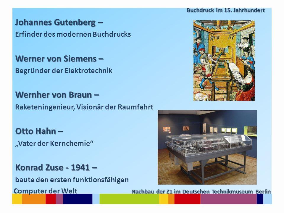 Buchdruck im 15. Jahrhundert Buchdruck im 15. Jahrhundert Johannes Gutenberg – Erfinder des modernen Buchdrucks Werner von Siemens – Begründer der Ele