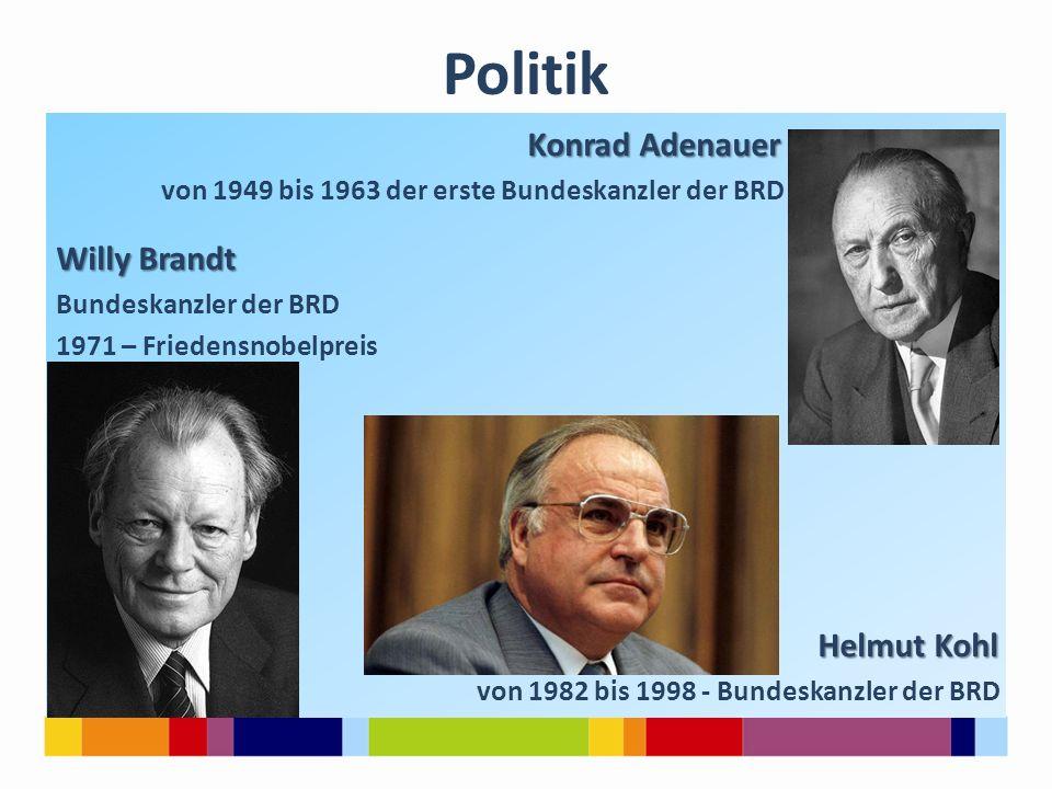 Politik Konrad Adenauer Konrad Adenauer von 1949 bis 1963 der erste Bundeskanzler der BRD Willy Brandt Bundeskanzler der BRD 1971 – Friedensnobelpreis
