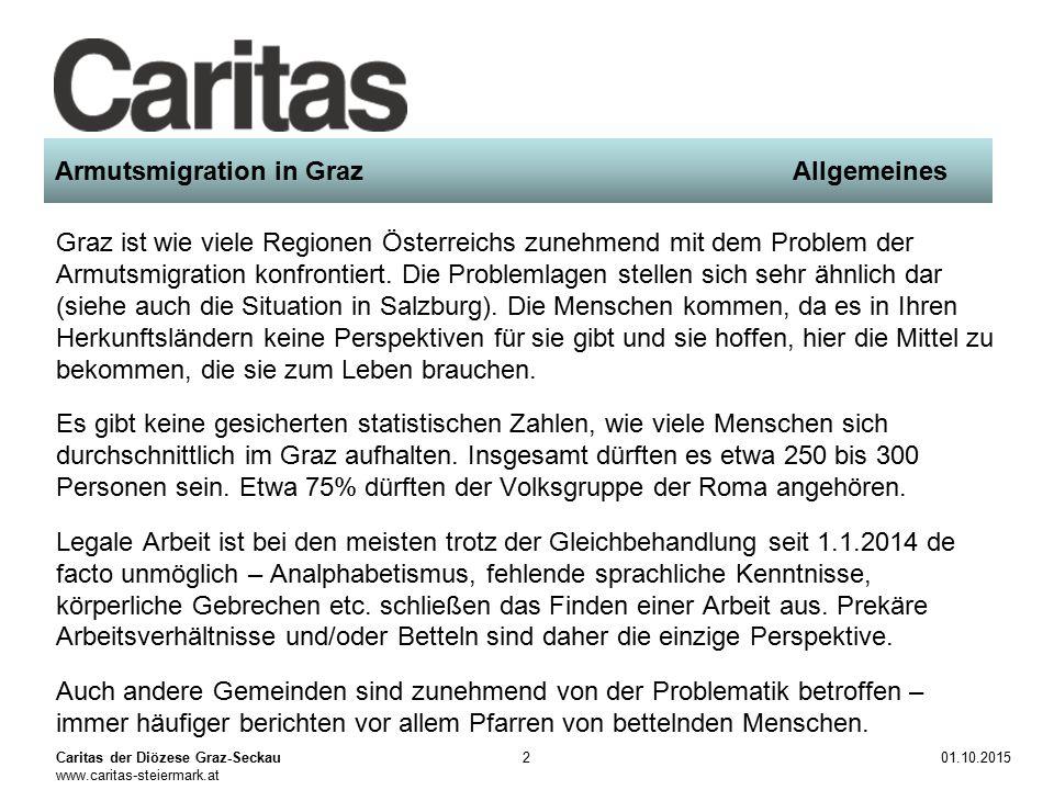 Caritas der Diözese Graz-Seckau www.caritas-steiermark.at 01.10.20152 Armutsmigration in GrazAllgemeines Graz ist wie viele Regionen Österreichs zunehmend mit dem Problem der Armutsmigration konfrontiert.