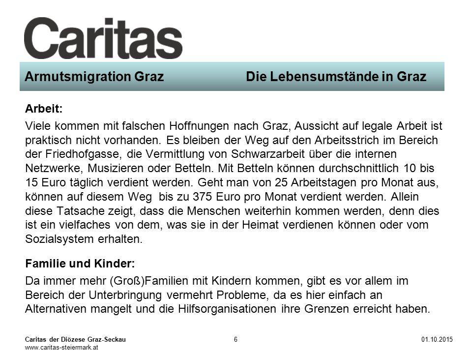 Caritas der Diözese Graz-Seckau www.caritas-steiermark.at 01.10.20156 Armutsmigration Graz Die Lebensumstände in Graz Arbeit: Viele kommen mit falschen Hoffnungen nach Graz, Aussicht auf legale Arbeit ist praktisch nicht vorhanden.