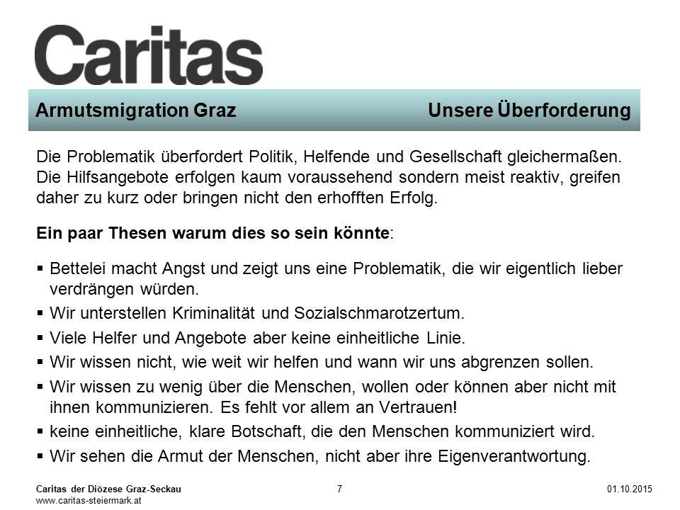 Caritas der Diözese Graz-Seckau www.caritas-steiermark.at 01.10.20157 Armutsmigration Graz Unsere Überforderung Die Problematik überfordert Politik, Helfende und Gesellschaft gleichermaßen.