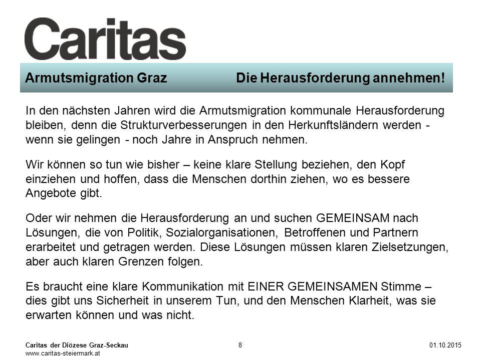 Caritas der Diözese Graz-Seckau www.caritas-steiermark.at 01.10.20159 Armutsmigration Graz Die Herausforderung annehmen.