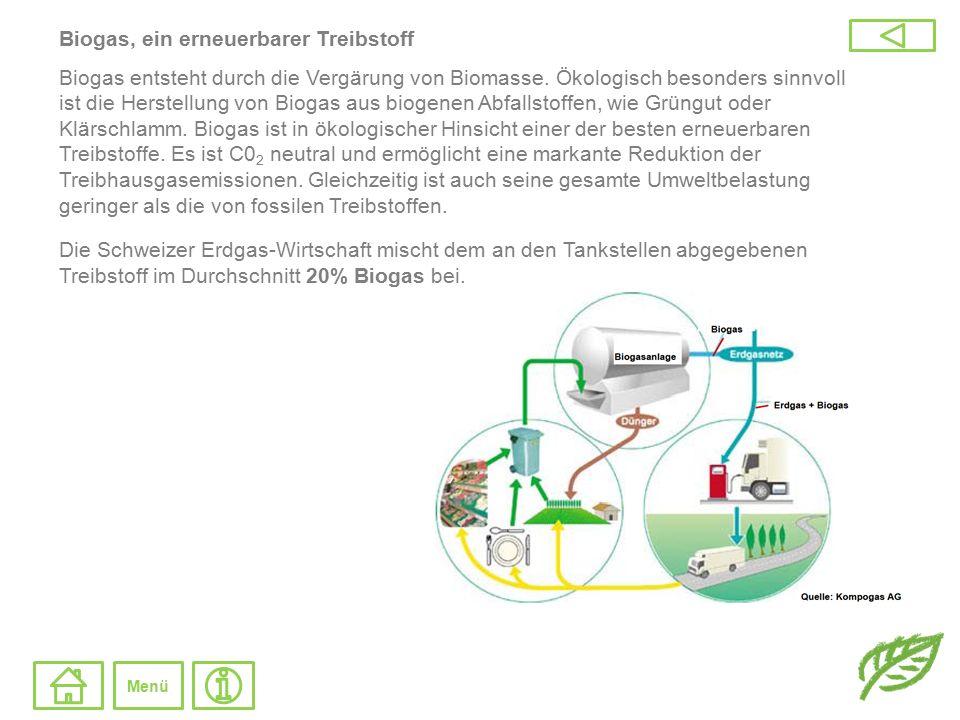 Biogas, ein erneuerbarer Treibstoff Biogas entsteht durch die Vergärung von Biomasse. Ökologisch besonders sinnvoll ist die Herstellung von Biogas aus