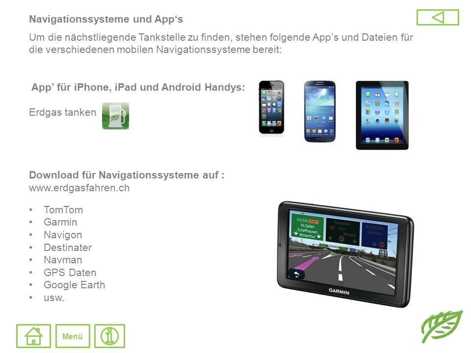 Navigationssysteme und App's Um die nächstliegende Tankstelle zu finden, stehen folgende App's und Dateien für die verschiedenen mobilen Navigationssy