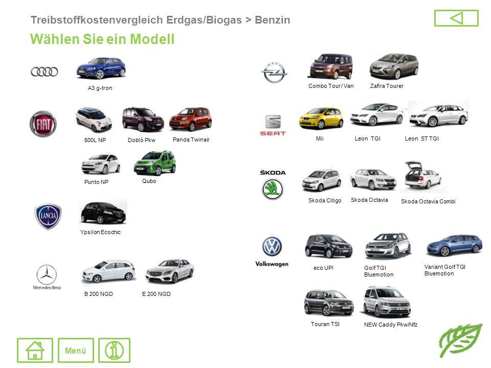 Treibstoffkostenvergleich Erdgas/Biogas > Benzin Wählen Sie ein Modell Touran TSI NEW Caddy Pkw/Nfz Panda Twinair Dobló Pkw Qubo Punto NP eco UP!Golf