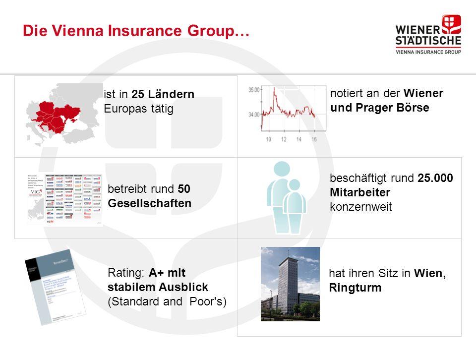 Die Vienna Insurance Group… ist in 25 Ländern Europas tätig betreibt rund 50 Gesellschaften Rating: A+ mit stabilem Ausblick (Standard and Poor s) notiert an der Wiener und Prager Börse beschäftigt rund 25.000 Mitarbeiter konzernweit hat ihren Sitz in Wien, Ringturm