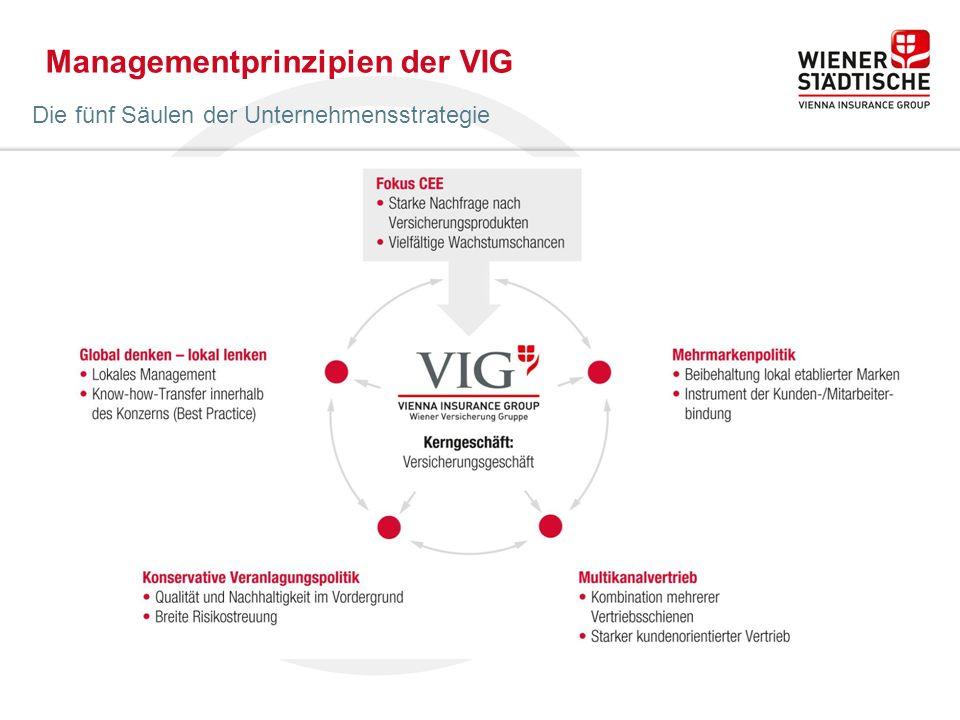 Managementprinzipien der VIG Die fünf Säulen der Unternehmensstrategie