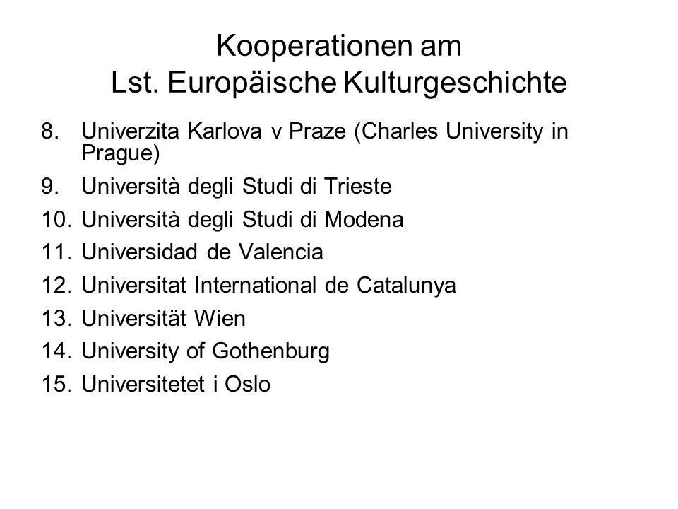 Kooperationen am Lst. Europäische Kulturgeschichte 8.