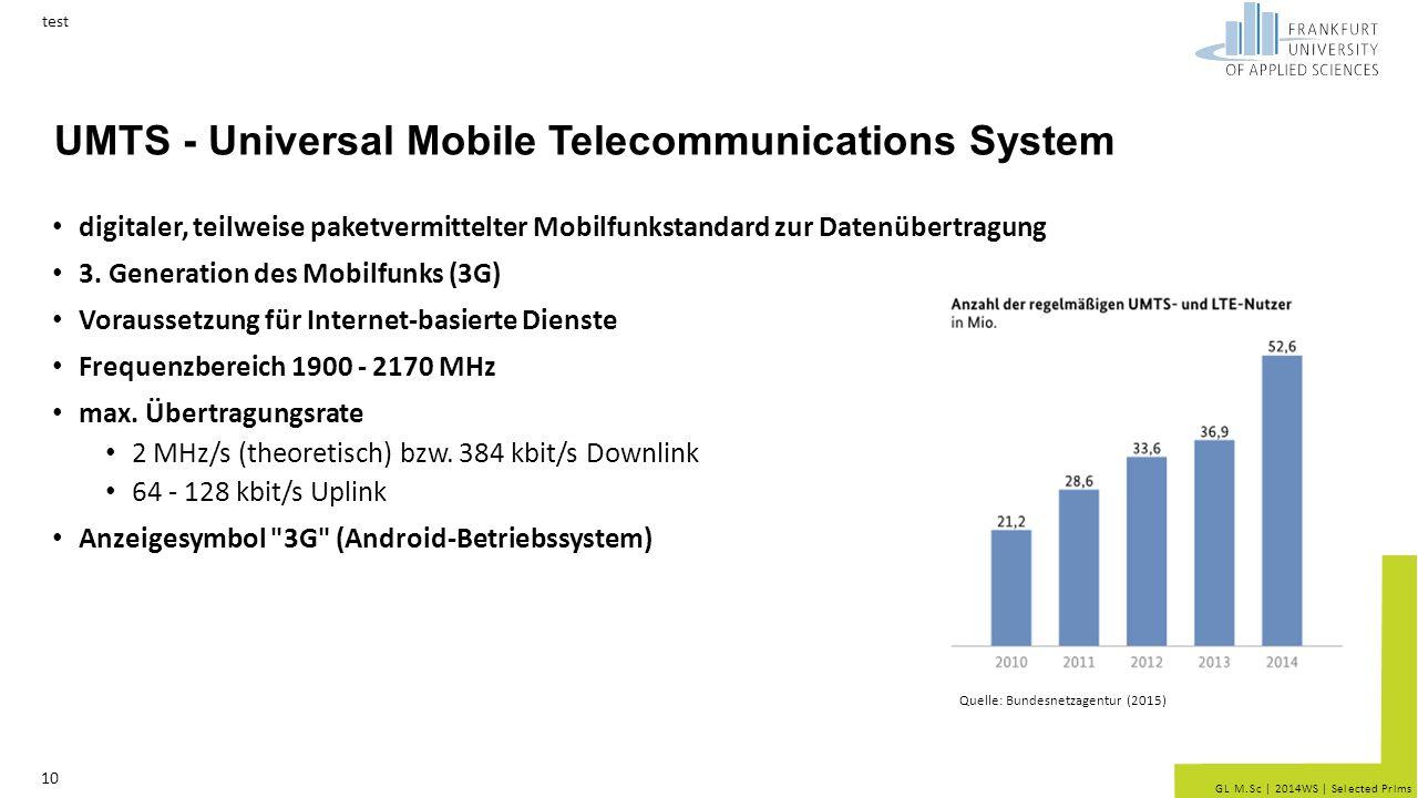 GL M.Sc   2014WS   Selected Prlms UMTS - Universal Mobile Telecommunications System digitaler, teilweise paketvermittelter Mobilfunkstandard zur Daten