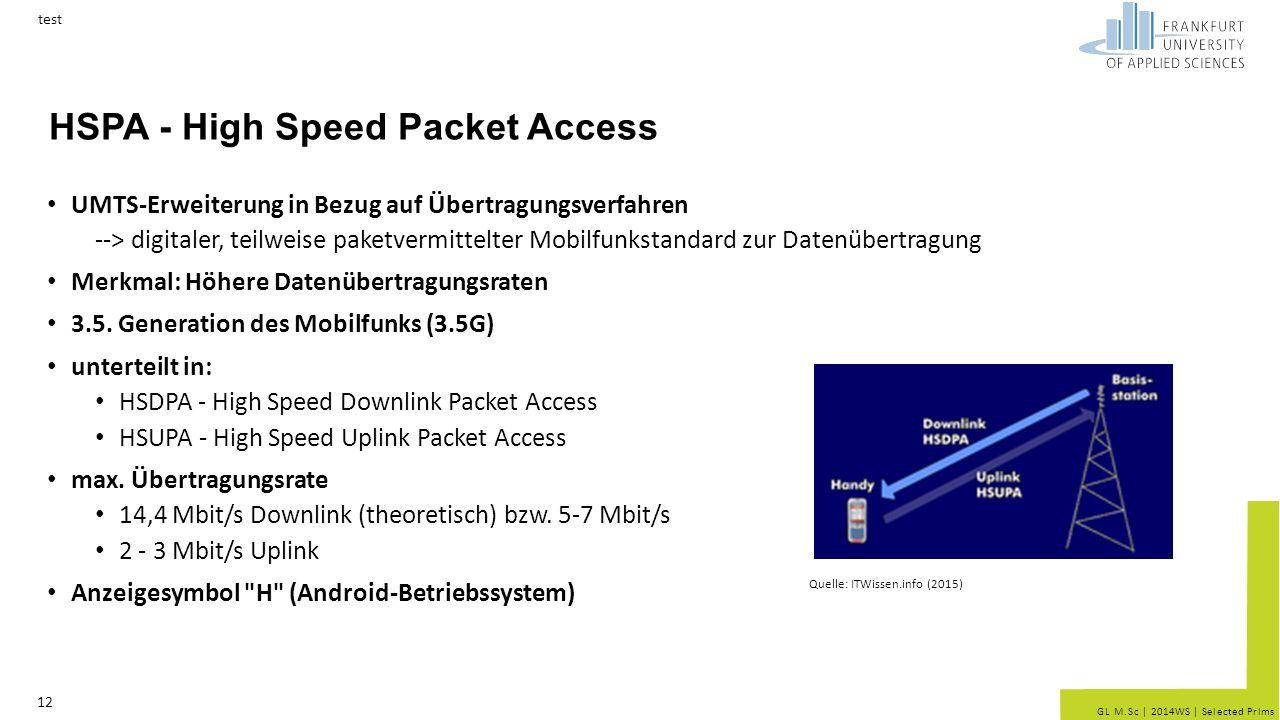GL M.Sc | 2014WS | Selected Prlms HSPA - High Speed Packet Access UMTS-Erweiterung in Bezug auf Übertragungsverfahren --> digitaler, teilweise paketvermittelter Mobilfunkstandard zur Datenübertragung Merkmal: Höhere Datenübertragungsraten 3.5.