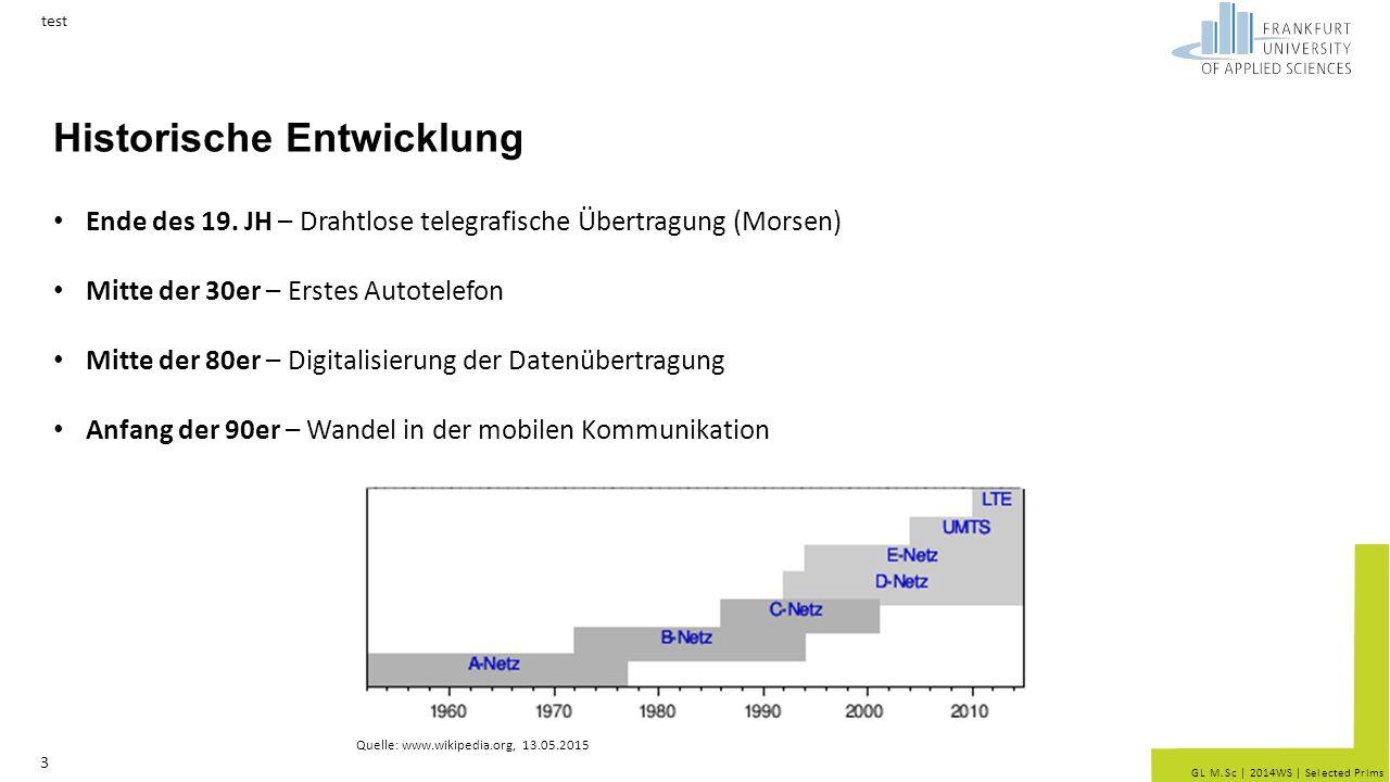 GL M.Sc   2014WS   Selected Prlms Historische Entwicklung test 3 Ende des 19. JH – Drahtlose telegrafische Übertragung (Morsen) Mitte der 30er – Erste