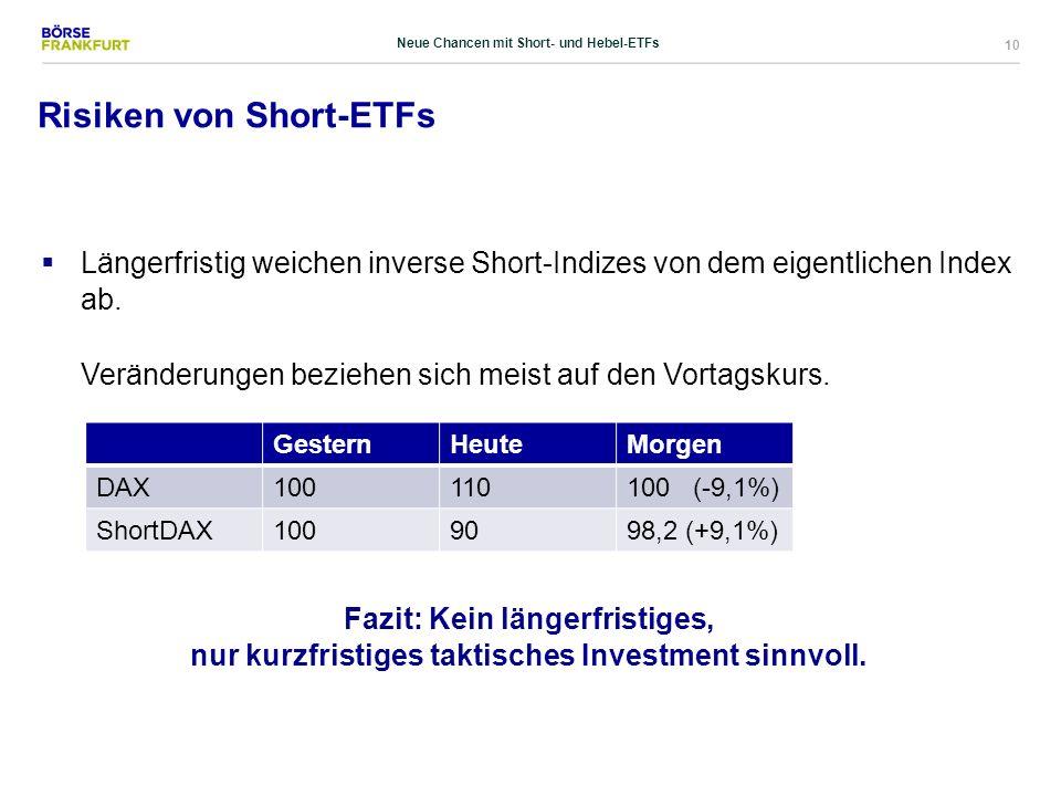 10 Risiken von Short-ETFs  Längerfristig weichen inverse Short-Indizes von dem eigentlichen Index ab. Veränderungen beziehen sich meist auf den Vorta
