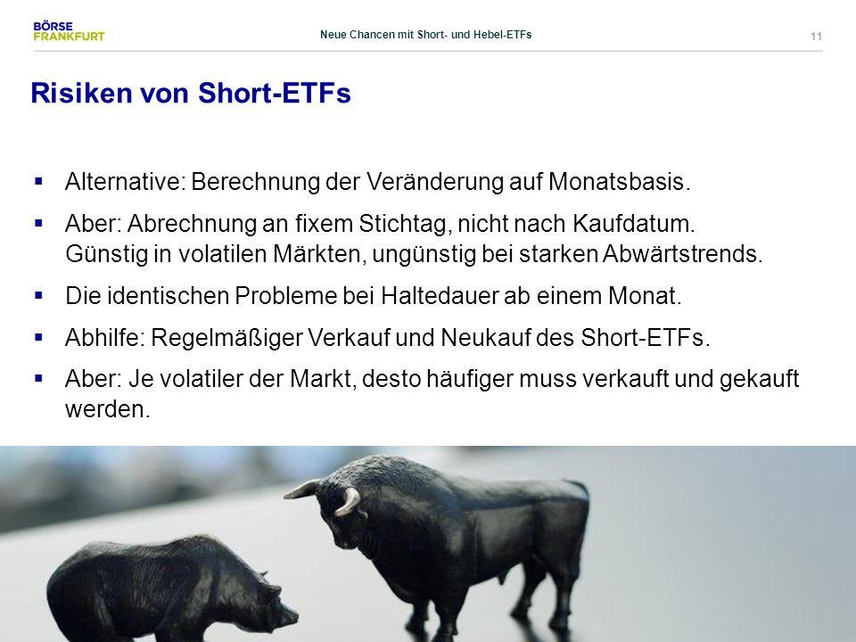 11 Risiken von Short-ETFs  Alternative: Berechnung der Veränderung auf Monatsbasis.  Aber: Abrechnung an fixem Stichtag, nicht nach Kaufdatum. Günst