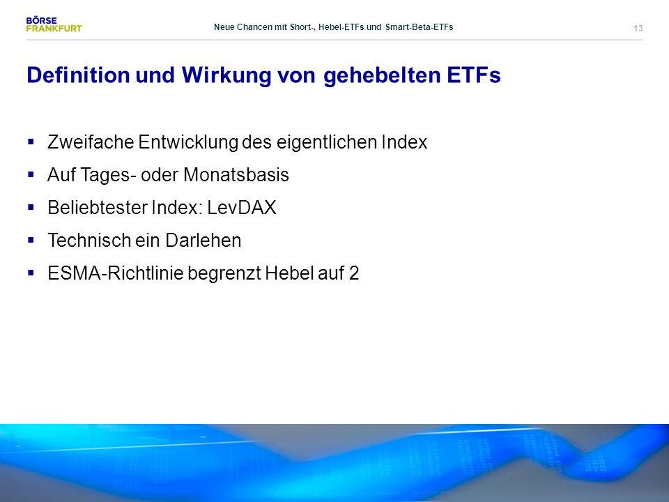 13 Definition und Wirkung von gehebelten ETFs  Zweifache Entwicklung des eigentlichen Index  Auf Tages- oder Monatsbasis  Beliebtester Index: LevDA