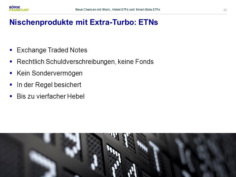 22 Nischenprodukte mit Extra-Turbo: ETNs  Exchange Traded Notes  Rechtlich Schuldverschreibungen, keine Fonds  Kein Sondervermögen  In der Regel b